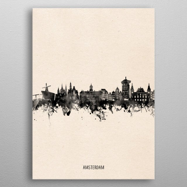 Amsterdam skyline inspired by decorative,minimal,vintage,black and white,pop art design metal poster