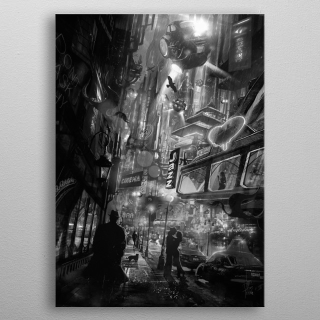 Full Cinema Noir version for my original Blade Runner and Frank Sinatra inspired science fiction painting with a retro cyberpunk mood. metal poster
