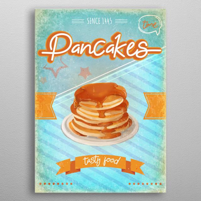 Tasty vintage Pancakes poster. metal poster