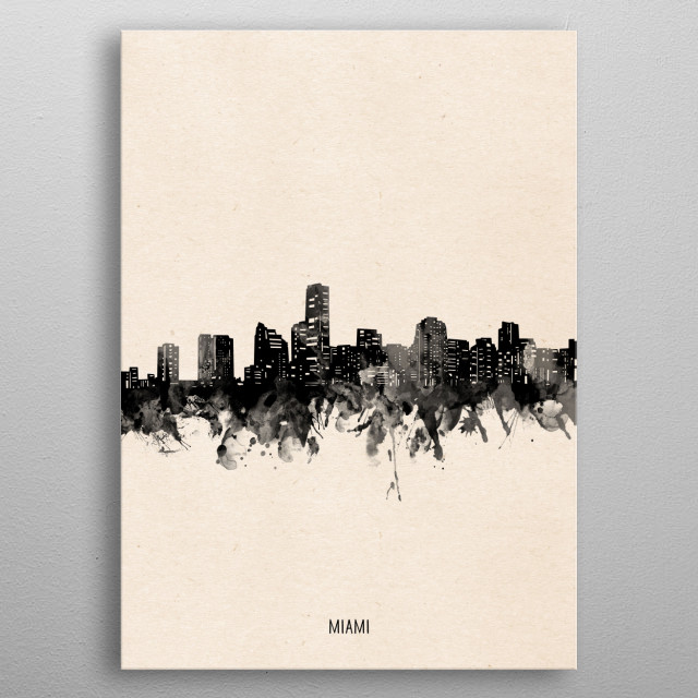 Miami skyline inspired by decorative,vintage,minimal,black and white,pop art design metal poster