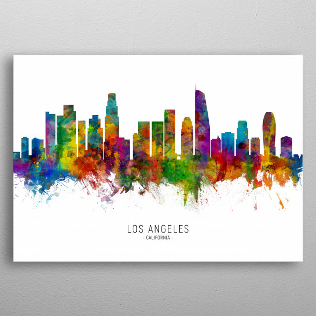 Watercolor art print of the skyline of Los Angeles, California, United States metal poster