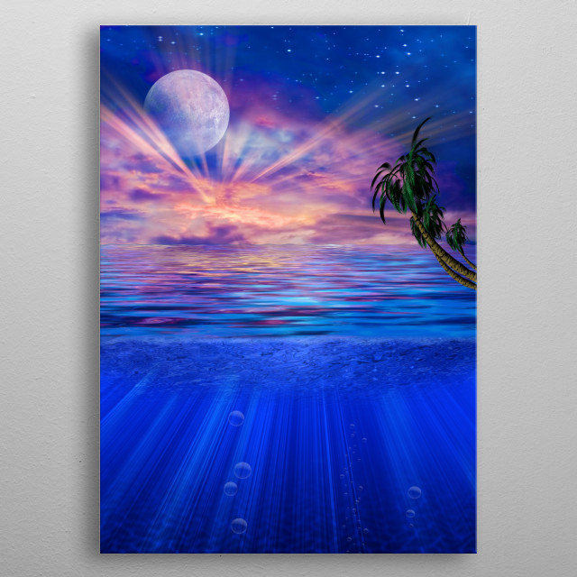 Sunset in Paradise. Full moon in vivid sky. Palm tree metal poster