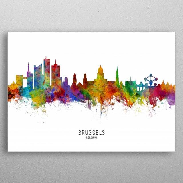 Watercolor art print of the skyline of Brussels, Belgium metal poster