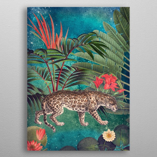 A night in the jungle. metal poster