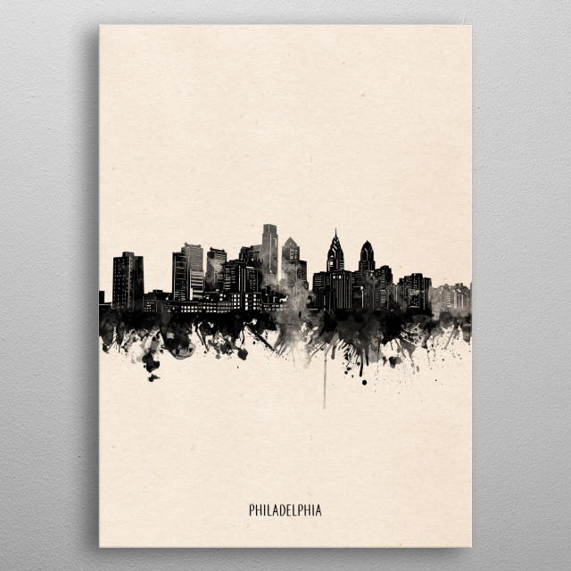 Philadelphia skyline inspired by decorative,vintage,minimal,black and white,pop art design metal poster