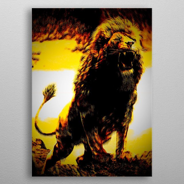 Golden Lion design represents strength and courage  metal poster