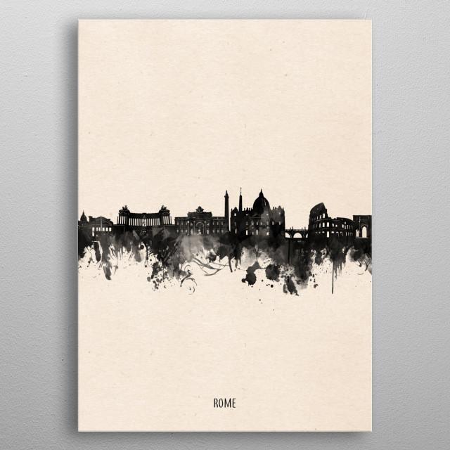 Rome skyline inspired by decorative,vintage,minimal,black and white,pop art design metal poster