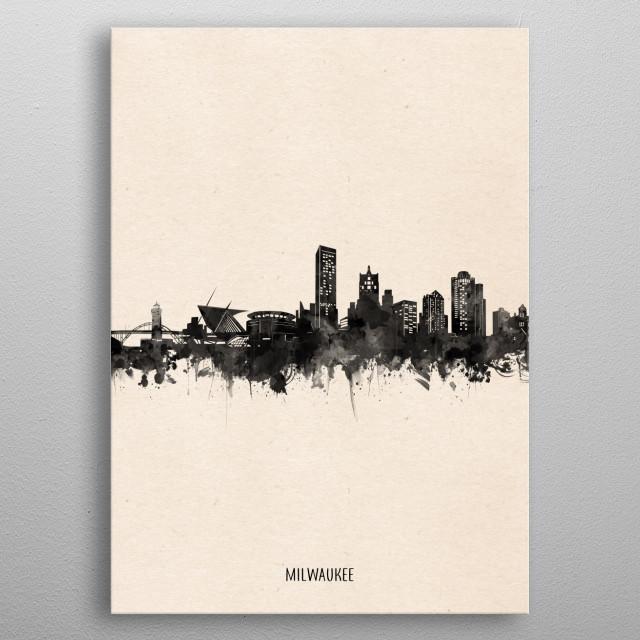 Milwaukee skyline inspired by decorative,vintage,minimal,black and white,pop art design metal poster