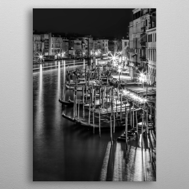 Gorgeous view from Rialto Bridge over Canal Grande. Lovely Venice nightscape. metal poster