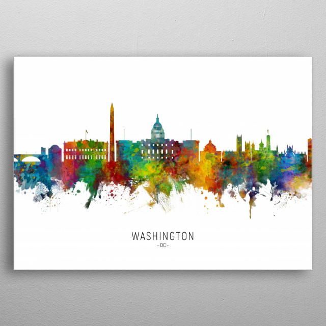 Watercolor art print of the skyline of Washington DC, United States metal poster