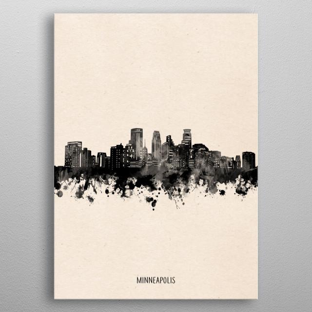 Minneapolis skyline inspired by decorative,vintage,minimal,black and white,pop art design metal poster