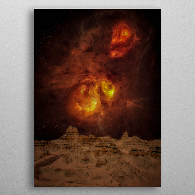 A space storm on an exoplanet metal poster