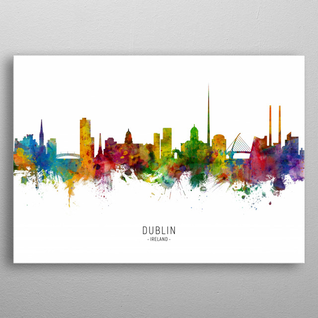 Watercolor art print of the skyline of Dublin, Ireland metal poster