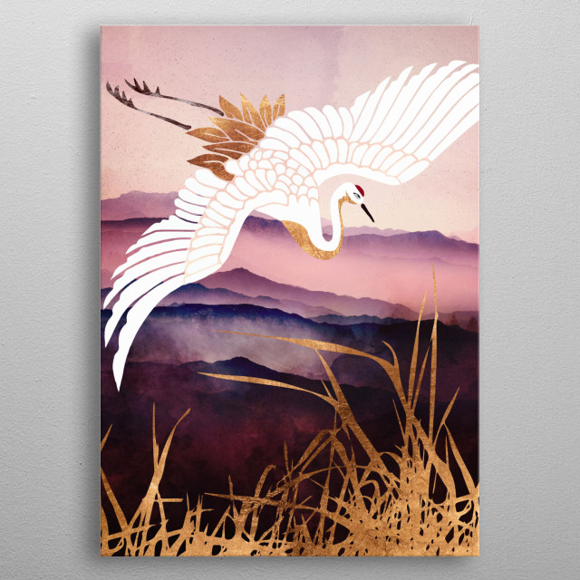 Abstract depiction of a crane flying with copper, maroon and purple metal poster