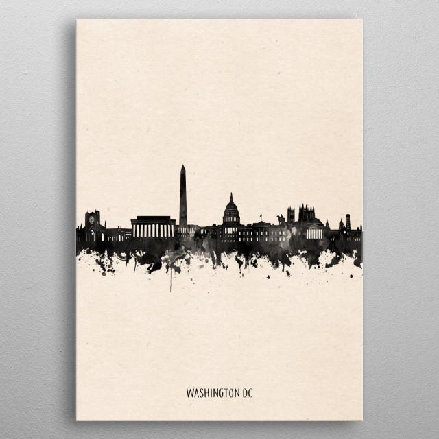 Washington dc skyline inspired by decorative,vintage,minimal,black and white,pop art design metal poster