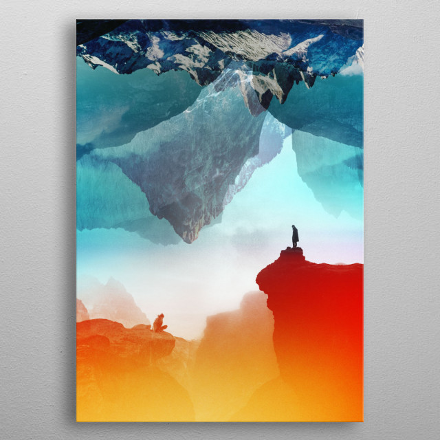 The shortest distance between two points is a straight line. Colorful landscape image of a love, Not all those who wander are lost. metal poster