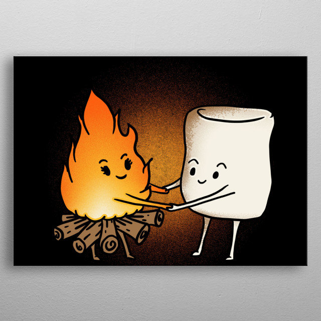 Bonfire and Marshmallow a perfect Displate for campers and people who love bonfires camping and the outdoors metal poster