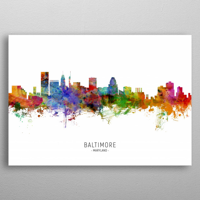 Watercolor art print of the skyline of Baltimore, Maryland, United States metal poster