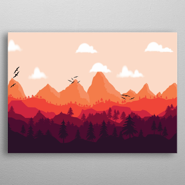 Colorful inspirational illustration of sunset in woods. metal poster