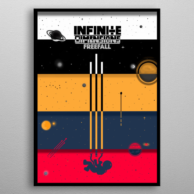 An astronaut detach from his ship is flooding in space goes through a vortex and free falls through infinite dimensions. metal poster