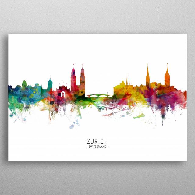 Watercolor art print of the skyline of Zurich, Switzerland metal poster
