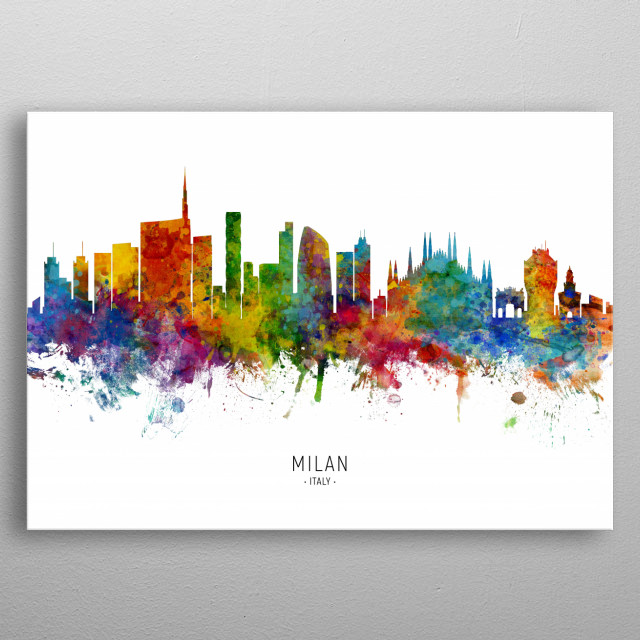 Watercolor art print of the skyline of Milan, Italy metal poster