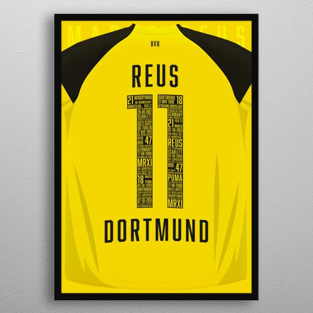 Marco Reus Borussia Dortmund Home 2018/2019 shirt metal poster