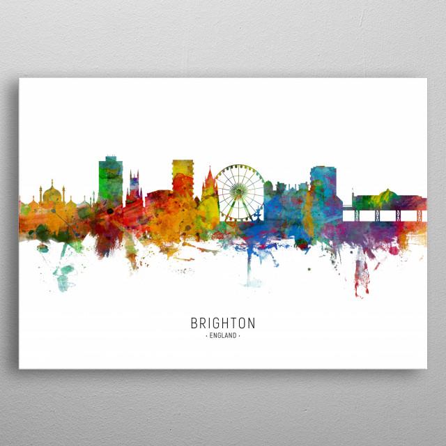 Watercolor art print of the skyline of Brighton, England, United Kingdom metal poster