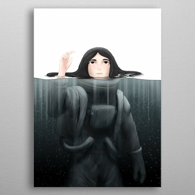 Creative Illustration of an Astronaut crossing the Event Horizon. metal poster