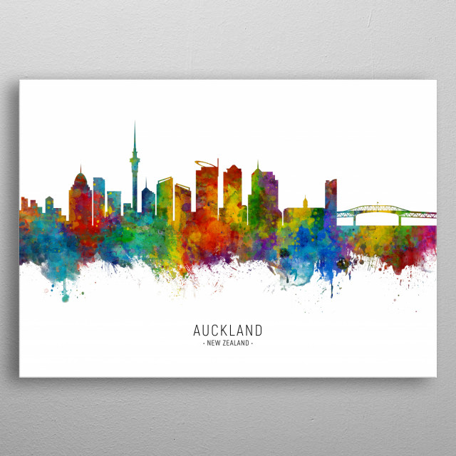 Watercolor art print of the skyline of Auckland, New Zealand metal poster