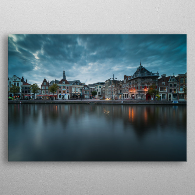 Dark and cloudy evening in Haarlem, the Netherlands. metal poster