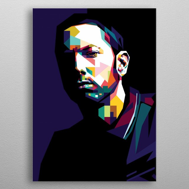 Pop Art of Eminem in WPAP Style metal poster