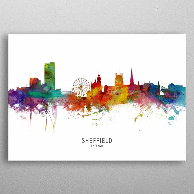 Watercolor art print of the skyline of Sheffield, England, United Kingdom metal poster