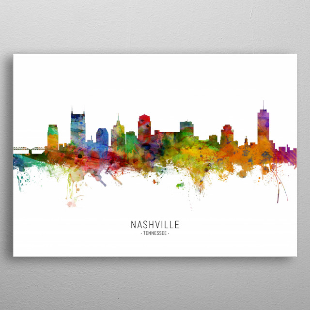 Watercolor art print of the skyline of Nashville, Tennessee, United States metal poster