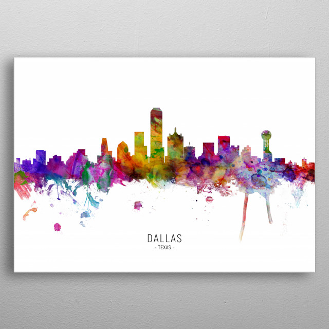 Watercolor art print of the skyline of Dallas, Texas, United States metal poster
