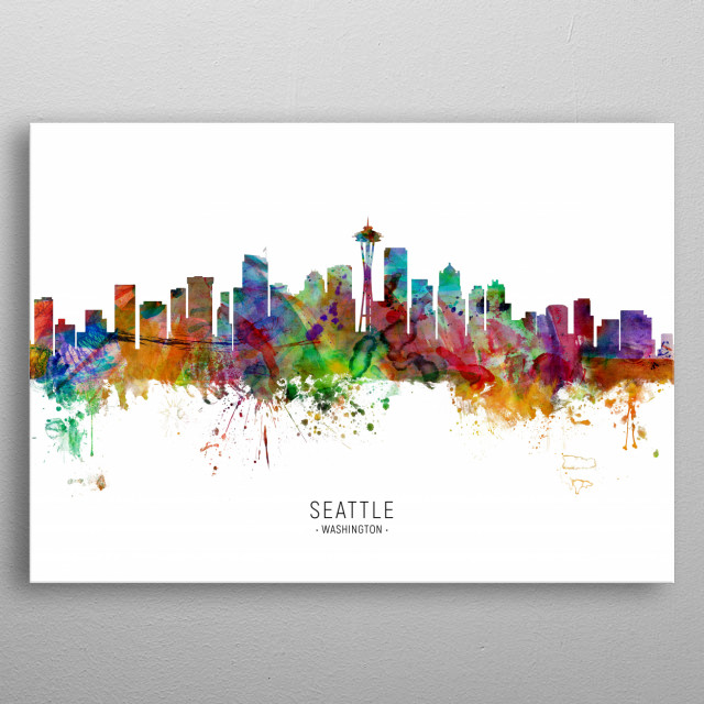 Watercolor art print of the skyline of Seattle, Washington, United States metal poster