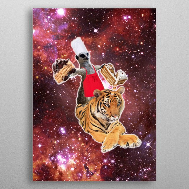 Pick up this epic funny outer space design. This funky design features a chef lemur riding on a tigercorn while eating cakes.  metal poster