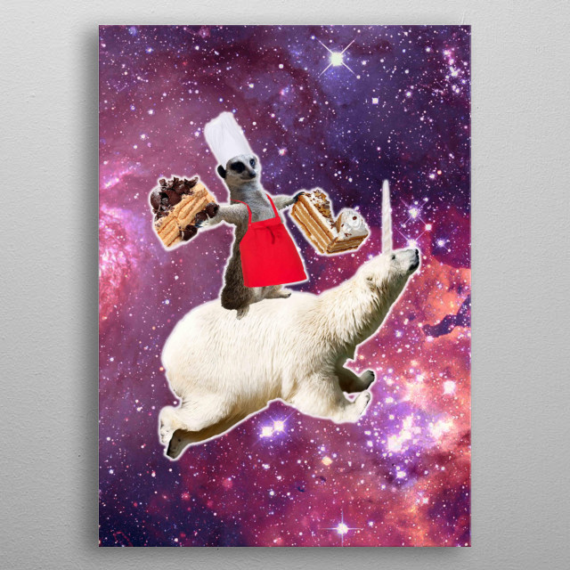 Pick up this epic funny outer space design. This funky design features a chef lemur riding on a polar bear unicorn while eating cakes.  metal poster