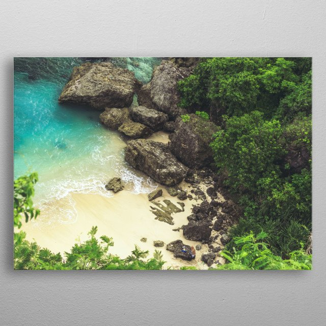 A nature photo of the beautiful ocean and rocks in Kauai, Hawaii. This perfect beach photograph always makes me feel serene.  metal poster