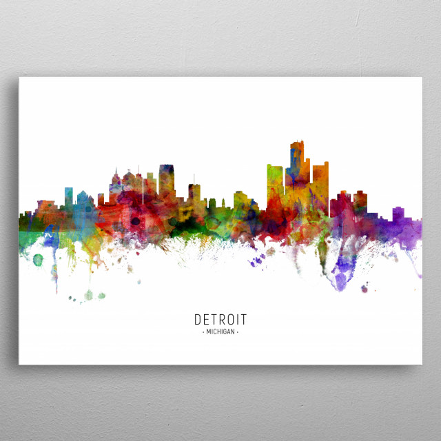 Watercolor art print of the skyline of Detroit, Michigan, United States metal poster