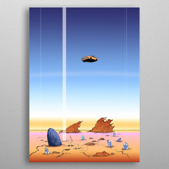 Illustration of a flying machine with an astronaut above the surface of the planet metal poster