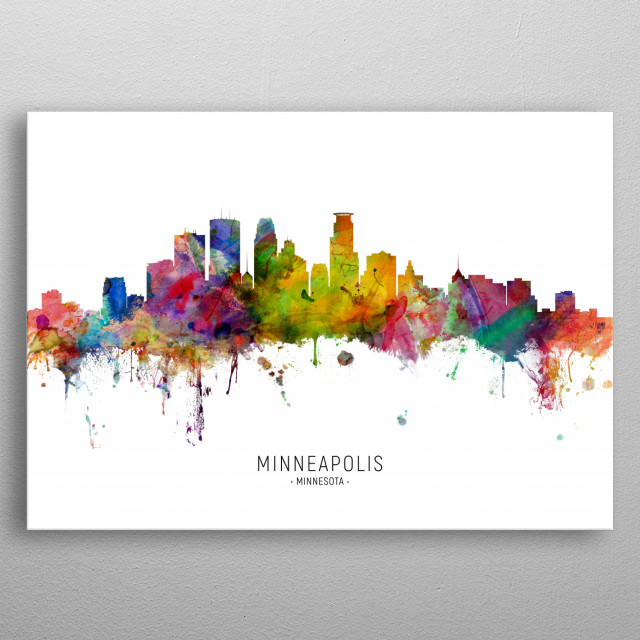 Watercolor art print of the skyline of Minneapolis, Minnesota, United States metal poster