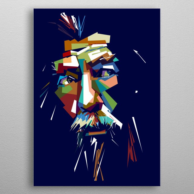 the old man in pop art portrait metal poster