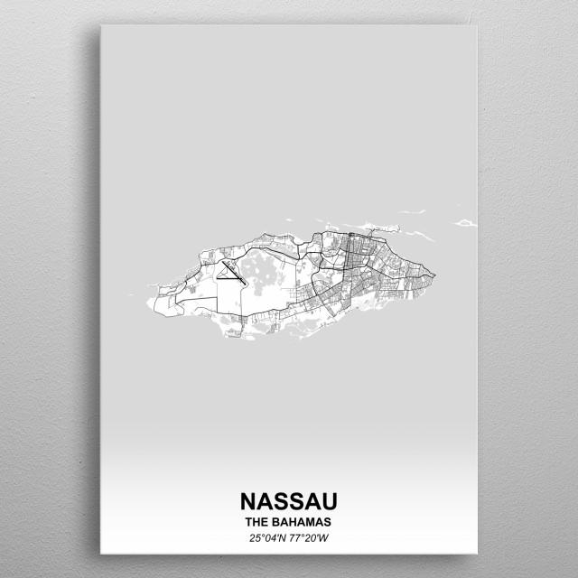 Nassau The Bahamas metal poster