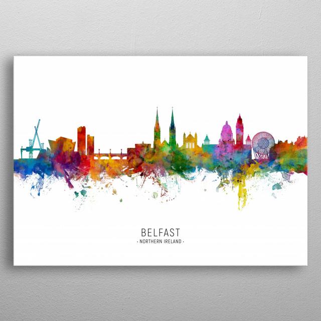 Watercolor art print of the skyline of Belfast, Northern Ireland metal poster
