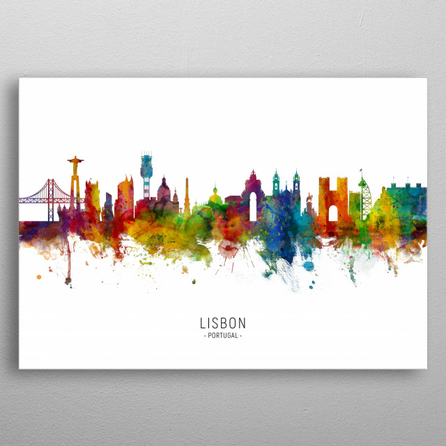 Watercolor art print of the skyline of Lisbon, Portugal metal poster
