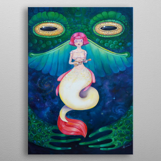 Surreal picture painted in oil painting technique. Charming mermaid and her bodyguard Mr. Toad metal poster