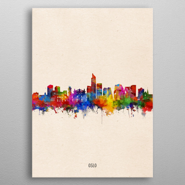 Oslo skyline inspired by decorative,watercolor,colorful,vintage,pop art design metal poster