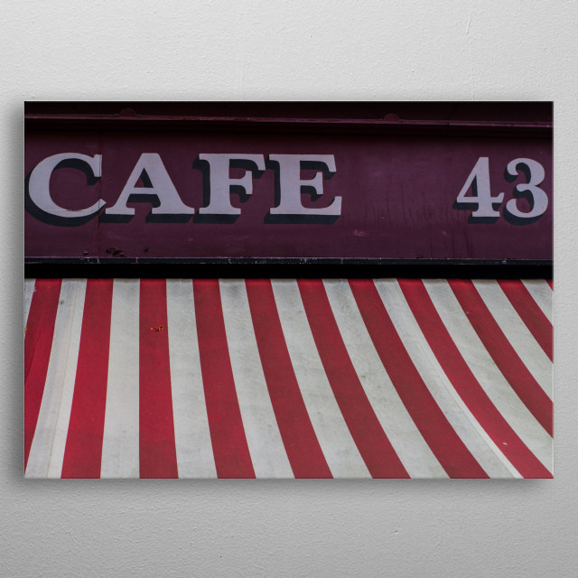 Picture of a cafe in Dublin. metal poster
