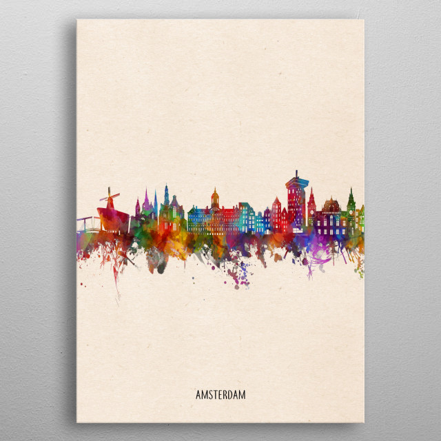 Amsterdam skyline inspired by decorative,watercolor,colorful,pop art design metal poster